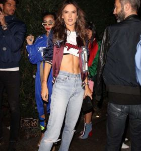 Alessandra Ambrosio in ripped jeans