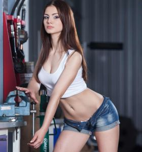 AlisseNextDoor Alice in denim shorts