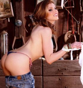 Holly Randall Candle Boxxx in denim shorts gets nude