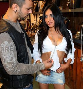 8th Street Latinas Candy Martinez in denim cut-off skirt gets nude