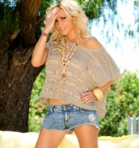 Playboy Dalene Kurtis in denim cut off shorts gets nude