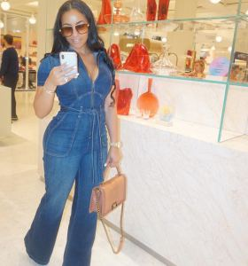 Delicia Cordon in denim jumpsuit