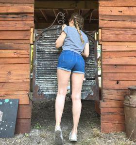 Karla Kush in denim shorts
