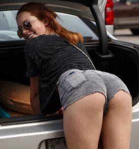 Zishy Kelsey Berneray in cut off denim shorts goes nude
