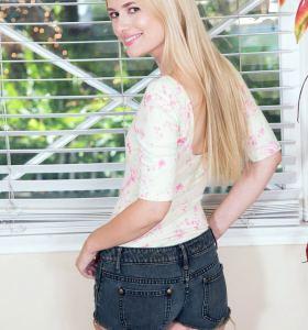 Kennedy Kressler in denim cut off shorts