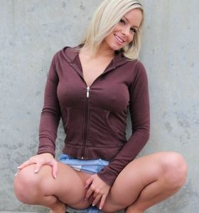 Lacey Brooks in cut-off denim skirt gets nude