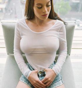 Lana Rhoades in denim shorts