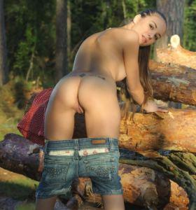 Domai Nataa in denim shorts goes nude