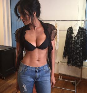 Padma Lakshmi in ripped jeans