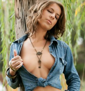 Penthouse Presley Hart in denim shirt gets nude