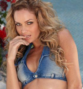 Twistys Prinzzess Felicity Jade in denim top gets nude