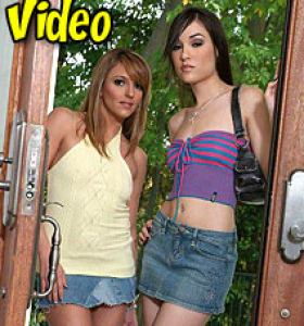 Cum Fiesta Sasha Grey and Lexy in denim skirts get nude
