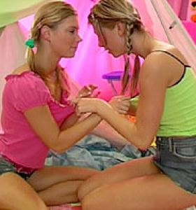 Club Seventeen Strawberry Sandy in denim skirt and lesbian girlfriend in cut off denim skirt get nude
